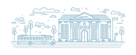Classical school building with columns and bus for kids or pupil driving on road drawn with contour lines on white background. Educational institution. Monochrome vector illustration in linear style. Illustration