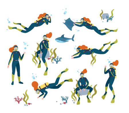 Colección de buzo mujer hermosa pelirroja nadando en el mar con peces y animales submarinos. Paquete de hermosa mujer buceando en el océano. Ilustración de vector colorido en estilo de dibujos animados plana