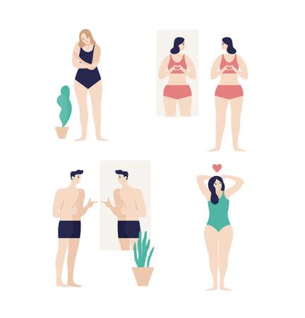 Männer und Frauen in Unterwäsche, die in den Spiegel schauen und ihre Körper auf weißem Hintergrund genießen. Selbstakzeptanz, Zufriedenheit mit dem Aussehen. Bunte Vektorillustration der flachen Karikatur