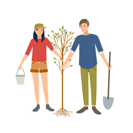Pair of young cheerful male and female volunteers or ecologist planting tree in park together isolated on white background. Ecological volunteering, altruistic activity. Cartoon vector illustration