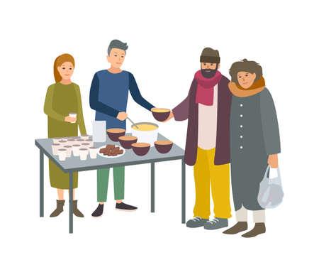 Junge männliche und weibliche Freiwillige, die arme Obdachlose füttern, isoliert auf weißem Hintergrund. Mann und Frau geben Bettlern auf der Straße Essen. Freiwillige altruistische Aktivität. Karikaturvektorillustration