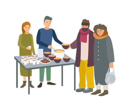 Young male and female volunteers feeding poor homeless people isolated on white background. Man and woman giving food to beggars on street. Voluntary altruistic activity. Cartoon vector illustration