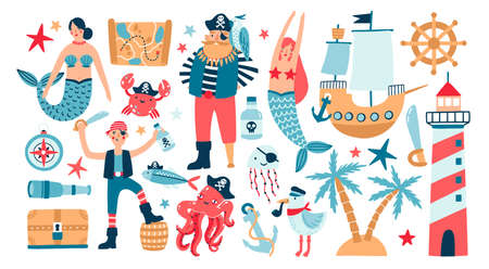 Collection of adorable pirates, sail ship, mermaids, sea fish and underwater creatures, treasure chest, lighthouse isolated on white background. Childish vector illustration in flat cartoon style