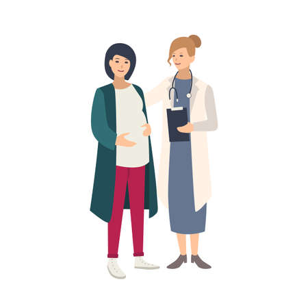 Fröhliche schwangere Frau, die zusammen mit Ärztin, Arzt oder Hebamme steht und mit ihr spricht. Gesunde Schwangerschaft, reproduktive Gesundheit. Bunte Vektorillustration im flachen Cartoon-Stil Vektorgrafik