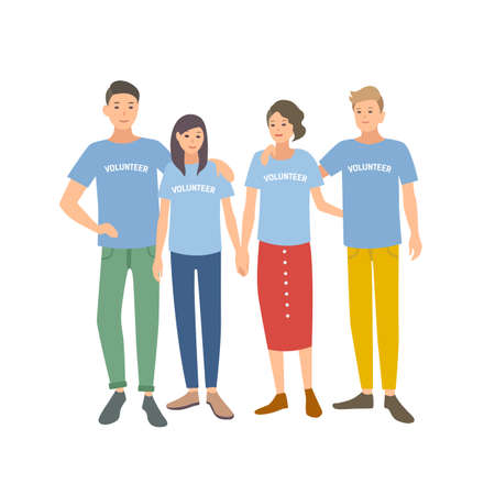 Group of young people wearing t-shirts with Volunteer word on it. Team of men and women volunteering for charity organization isolated on white background. Vector illustration in flat cartoon style Ilustração