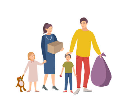 Man, woman and children carrying bag and box with old items and clothes to donate it to charity organization. Voluntary social aid and kindness. Colorful vector illustration in flat cartoon style 向量圖像