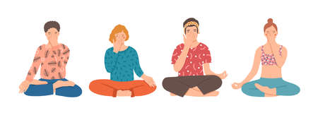 Group of people sitting cross-legged on floor and performing yoga breathing exercise. Young men and women practicing Pranayama and meditating. Colorful vector illustration in flat cartoon style.