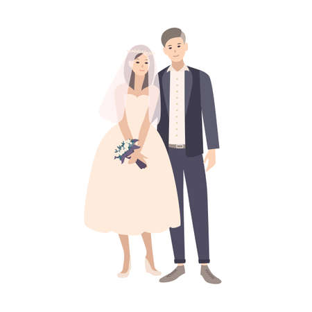Cute pair of young fashionable bride and groom dressed in fancy clothing. Adorable married couple or newlyweds isolated on white background. Colored vector illustration in flat cartoon style