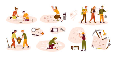 Collection of male and female archaeologists excavating historical artifacts from archaeological site, examining cave paintings, digging ground. Colorful vector illustration in flat cartoon style