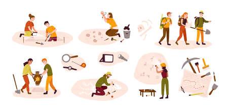 Collezione di archeologi uomini e donne che scavano manufatti storici dal sito archeologico, esaminano pitture rupestri, scavano terreno. Illustrazione vettoriale colorato in stile cartone animato piatto Vettoriali
