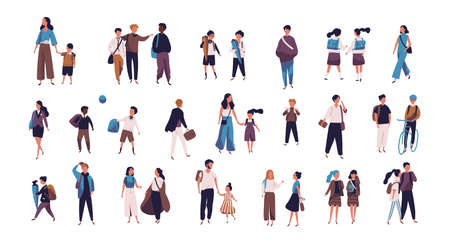 Crowd of pupils, school children with parents and students going to school, college or university. Tiny people on street isolated on white background. Colorful vector illustration in flat style