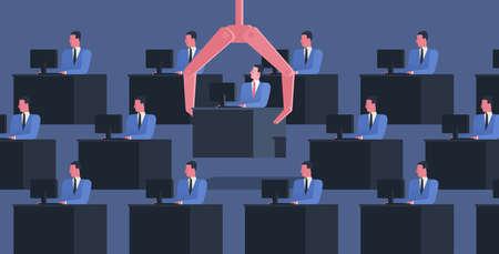 Identische Personen sitzen an Schreibtischen mit Computern und einem großen Roboterarm, der einen von ihnen greift. Konzept der Entlassung von Arbeitnehmern, Büroangestellten oder Angestellten. Bunte Vektorillustration im flachen Cartoon-Stil Vektorgrafik
