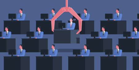 Identical people sit at desks with computers and large robotic arm grabbing one of them. Concept of dismissal of employee, office worker or clerk. Colorful vector illustration in flat cartoon style