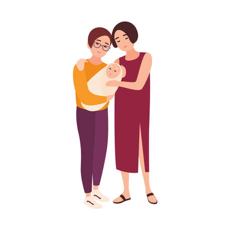 Pair of cute homosexual women standing together, holding newborn baby and smiling. Happy LGBT family with child. Flat cartoon characters isolated on white background. Colorful vector illustration.