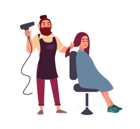 Adorable friendly bearded male hairdresser blow-dry with hairdryer hair of his smiling female client sitting in chair isolated on white background. Colorful vector illustration in flat cartoon style Vectores