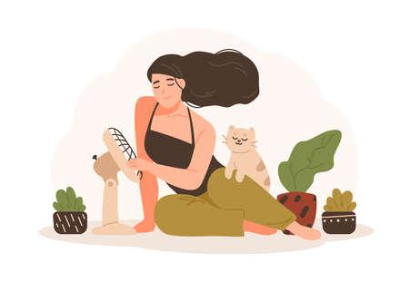 Ritratto di donna sorridente seduta sul pavimento con il suo gatto domestico e che utilizza un ventilatore elettrico per rinfrescarsi. Adorabile personaggio dei cartoni animati isolato su sfondo bianco. Illustrazione vettoriale colorato in stile piatto Vettoriali