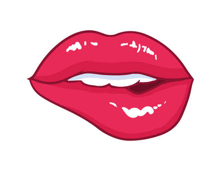 Sexy mouth with bright red glossy bitten lips isolated on white background. Symbol of love, kiss, passion and sexual desire. Beautiful romantic design element. Comics cartoon vector illustration. Ilustração