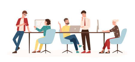 Men and women sitting at desk and standing in modern office, working at computers and talking with colleagues. Effective and productive teamwork. Colorful vector illustration in flat cartoon style