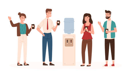 Office workers or colleagues standing near water cooler or dispenser, drinking and chatting. Smiling male and female clerks talking during coffee break. Vector illustration in flat cartoon style