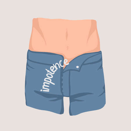 Mens waist and hips and jeans with unzipped fly. Concept of impotence, erectile dysfunction, inability to obtain or maintain erection during activity. Colorful vector illustration.