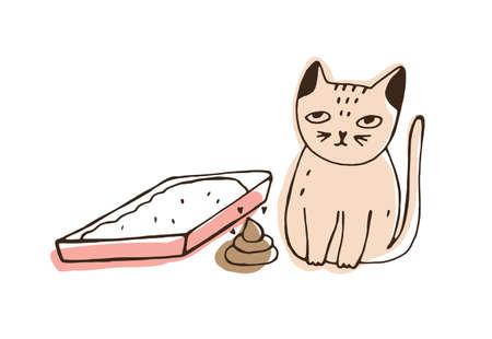 Katze sitzt neben leerer Katzentoilette und kackt auf dem Boden liegend. Freche Katze, die an der falschen Stelle zu Hause lokalisiert auf weißem Hintergrund kotet. Ungehorsames Haustier. Hand gezeichnete Vektorillustration.