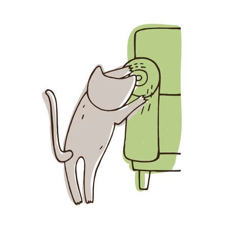 Disobedient cat scratching sofa isolated on white background. Nasty kitten tearing home furniture with claws. Problematic behavior of domestic animal. Colorful vector illustration in doodle style