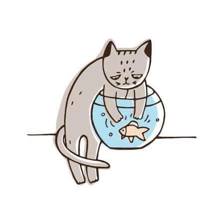 Ungehorsame Katze, die versucht, Aquarienfische zu fangen. Freche Katze, die ein anderes Haustier jagt, das auf weißem Hintergrund lokalisiert wird. Problematisches Verhalten von Haustieren. Bunte Hand gezeichnete Vektorillustration. Vektorgrafik
