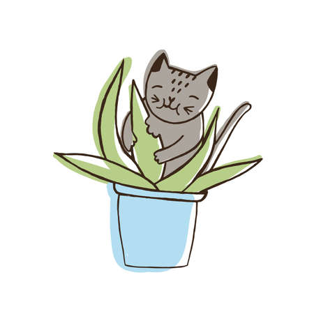 Adorable nasty cat eating houseplants. Naughty kitten gnawing plant growing in pot. Problematic behavior of disobedient domestic animal or pet. Colored hand drawn vector illustration in doodle style