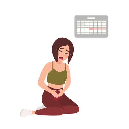 Young woman suffering from painful menstruation against calendar hanging on wall on background. Distressed girl sitting on floor with her hands on tummy and crying. Flat cartoon vector illustration
