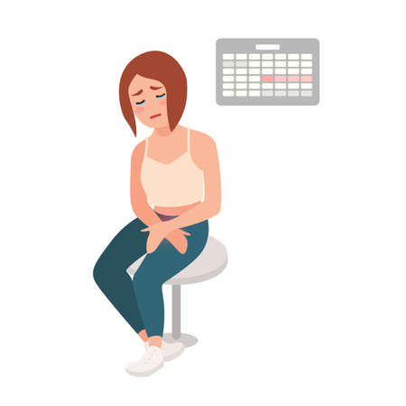 Sad girl sitting on stool with her hands on belly, suffering from menstrual pain and cramps, crying against calendar hanging on wall on background. Colorful vector illustration in flat cartoon style Stock Vector - 111881543