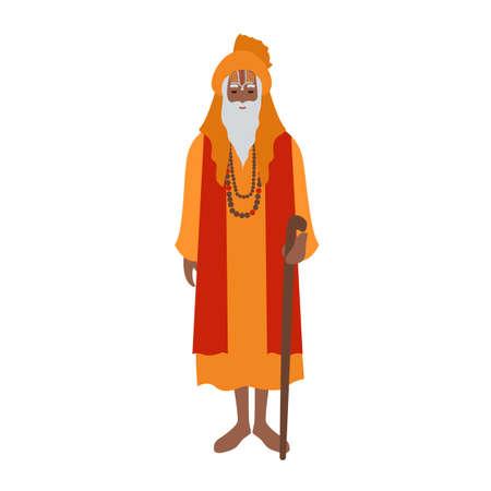 Guru indiano che indossa turbante e abiti tradizionali, tenendo il bastone. Sacerdote indù, chierico o leader religioso. Personaggio dei cartoni animati maschio isolato su priorità bassa bianca. Piatto colorato illustrazione vettoriale. Vettoriali