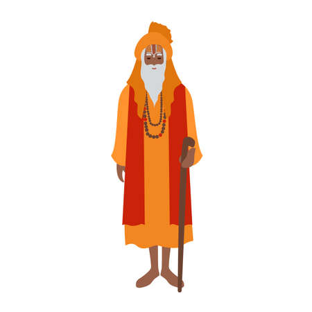 Indyjski guru ubrany w turban i tradycyjne stroje, trzymający laskę. Hinduski duchowny, duchowny lub przywódca religijny. Postać z kreskówki mężczyzna na białym tle. Ilustracja wektorowa płaski kolorowy. Ilustracje wektorowe