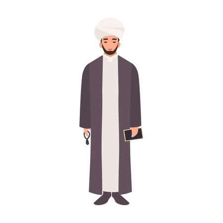 Mullah wearing turban and traditional clothes, holding beads and Quran book. Islamic clergyman, cleric or religious leader. Male cartoon character isolated on white background. Vector illustration.