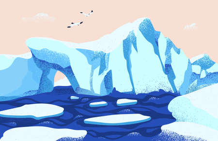 Spectacular Arctic or Antarctic scenery. Beautiful landscape with large icebergs floating in ocean and seagulls. Gorgeous northern nature. Colored vector illustration in modern flat cartoon style.