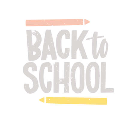 Back to School lettering handwritten with calligraphic font and decorated by pencils. Creative text composition isolated on white background. Decorative colorful vector illustration in flat style Ilustração