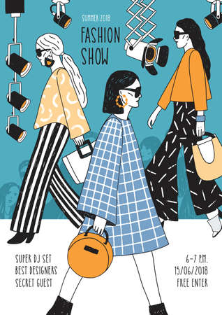 Colorful flyer or poster template for fashion show with top models wearing seasonal clothes walking along runway or doing catwalk. Hand drawn vector illustration for event promotion, advertisement. 写真素材