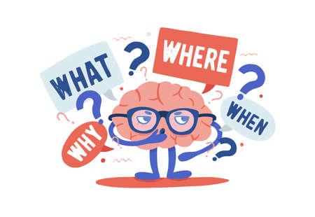 Adorable cerebro humano curioso con gafas resolviendo acertijos rodeado de preguntas y puntos de interrogación. Personaje de dibujos animados aislado sobre fondo blanco. Ilustración de vector colorido en estilo plano