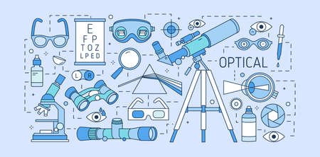 Colorful web banner template with optical equipment, various eyesight correction devices, ophthalmic tools, optic lenses on blue background. Creative vector illustration in modern linear style