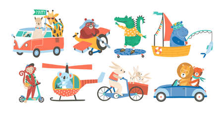 Set of funny adorable animals in various types of transport - driving car, fishing in sailboat, riding bicycle, skateboarding, flying on plane or helicopter. Colorful childish vector illustration