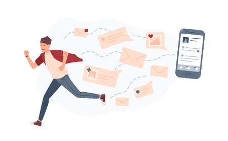 Jonge man loopt weg van gigantische smartphone en sms-berichten of e-mails die hem achtervolgen. Concept van persoon overweldigd door internetmeldingen. Kleurrijke vectorillustratie in platte cartoon stijl. Vector Illustratie