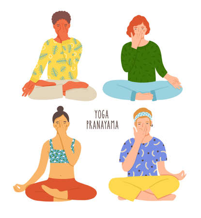 Collection of people sitting with crossed legs on floor and performing yoga breathing exercise. Girls and boys with closed eyes practicing Pranayama. Colorful vector illustration in flat cartoon style.
