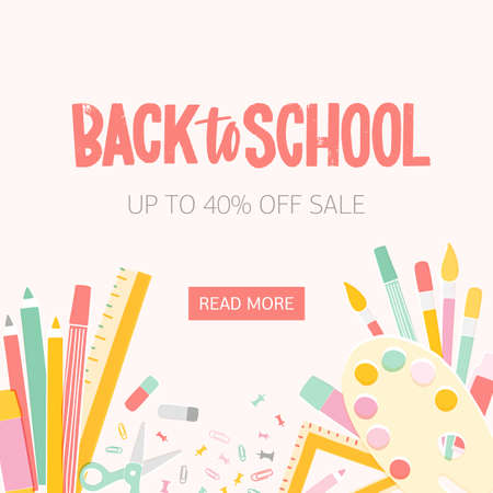Square web banner template for Back To School seasonal sale with inscription written with calligraphic font and decorated by education supplies at bottom edge. Vector illustration for promotion