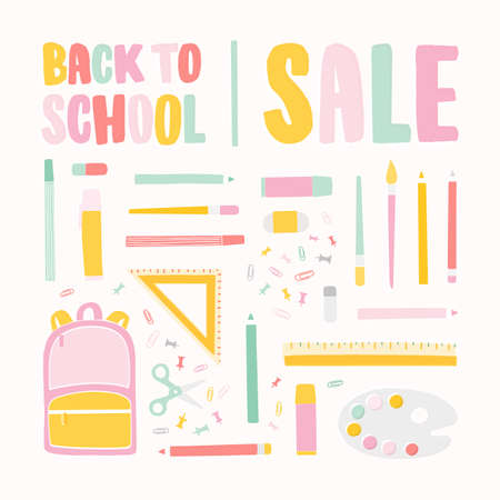 Square banner template for Back To School sale with lettering written with colorful calligraphic font and decorated by stationery for education. Flat vector illustration for discount promotion