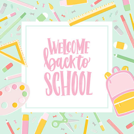 Card template with Welcome Back To School inscription written with cursive calligraphic font and decorated by frame or border made of education supplies. Vector illustration for 1st of September Ilustrace