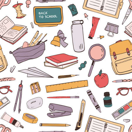 Colorful seamless pattern with scattered school supplies or stationery for education on white background. Hand drawn vector illustration in realistic style for wallpaper, wrapping paper, fabric print