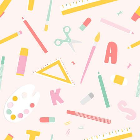 Patrón transparente de colores brillantes con útiles escolares o papelería, letras esparcidas sobre fondo claro. Ilustración de vector moderno en estilo plano de moda para impresión de tela, telón de fondo, papel de regalo
