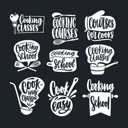Bundle of lettering handwritten with calligraphic script and decorated with cookware isolated on black background. Set of cooking classes, courses or school labels. Monochrome vector illustration.