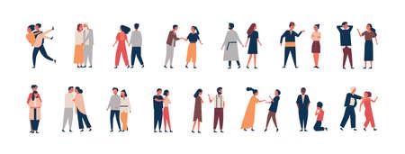 Raccolta delle fasi di sviluppo della relazione. Set di uomini e donne che si incontrano, litigano, si abbracciano, litigano. Coppie o partner romantici isolati su sfondo bianco. Illustrazione vettoriale di cartone animato piatto