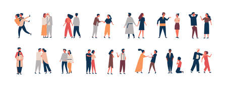 Collection of relationship development stages. Set of men and women dating, quarreling, hugging, fighting. Couples or romantic partners isolated on white background. Flat cartoon vector illustration