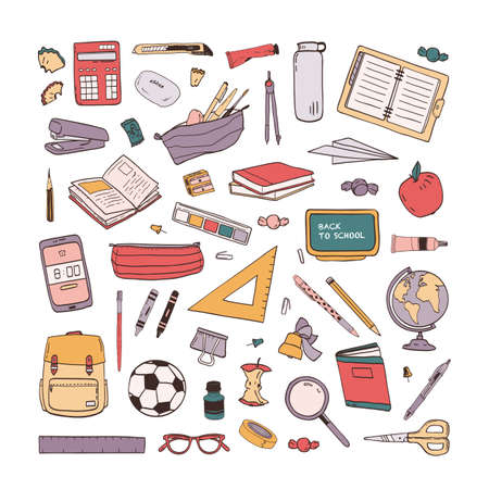 Collection of school stationery items hand drawn on white background. Set of drawings of education supplies. Bundle of design elements. Colorul creative vector illustration in realistic style